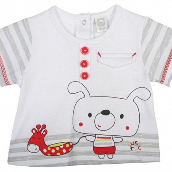 Biele kojenecké tričko Tuc Tuc so psíkom a žirafou
