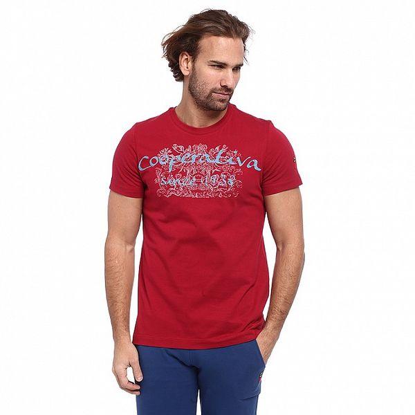 Pánske červené tričko s modro-bielou potlačou Cooperativa