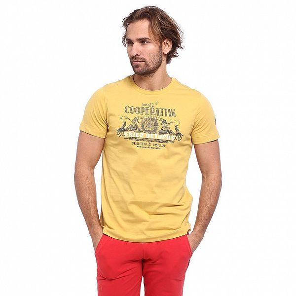 Pánské žluté triko s krátkým rukávem a potiskem Cooperativa