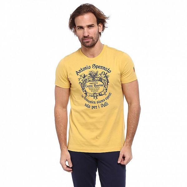 Pánské žluté triko s modrým potiskem Cooperativa