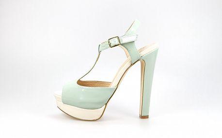 Dámske mentolovo-krémové lakované sandálky La Strada