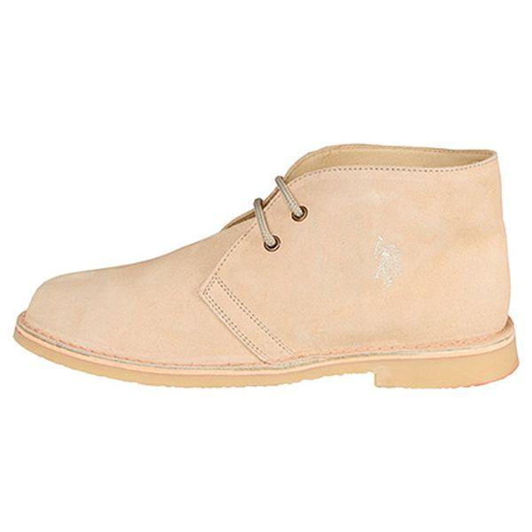 Béžová kožená kotníčková obuv Ever
