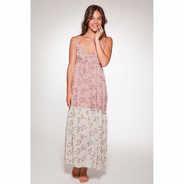Dámské růžové dlouhé letní šaty s květinovým potiskem Ian Mosh