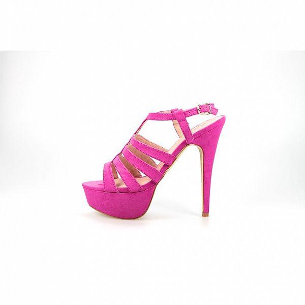 Dámské fuchsiové sandály La Strada na vysokém jehlovém podpatku