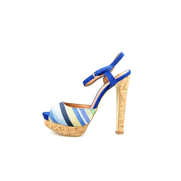 Dámské modré proužkované sandály La Strada s korkovou platformou