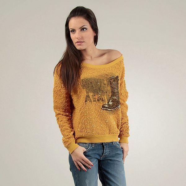 Dámský hořčicový svetr Free for Humanity s černým potiskem a korálky
