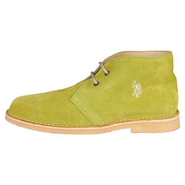 Limetková kožená kotníčková obuv Ever
