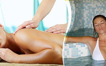 Klasická masáž chrbta a šije a vstup do bazéna