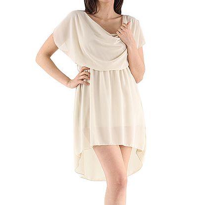 Béžové asymetrické šaty
