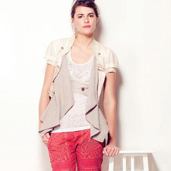 Béžové sako s krátkým rukávem
