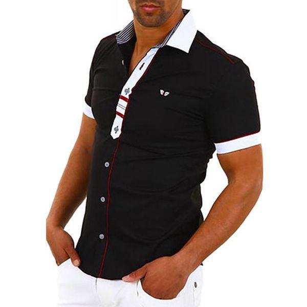 Černá košile s červeno-bílými detaily