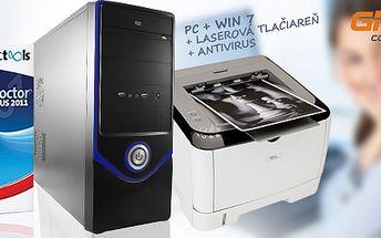 Stolný počítač PC Dragon s laserovou tlačiarňou a antivírusom