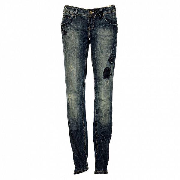 Dámske modré slim džínsy Timeout so záplatami