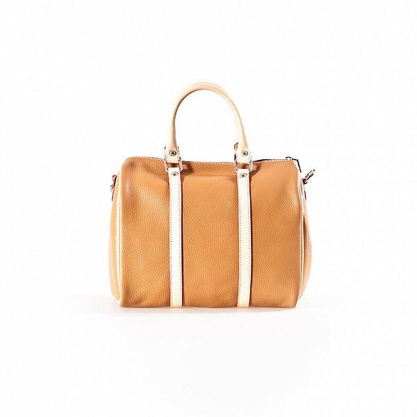 Dámská koňakovo-béžová kabelka s červenými detaily Luisa Vannini