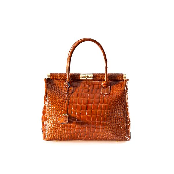 Dámska koňaková kabelka s krokodýlim vzorom a zlatými prvkami Luisa Vannini