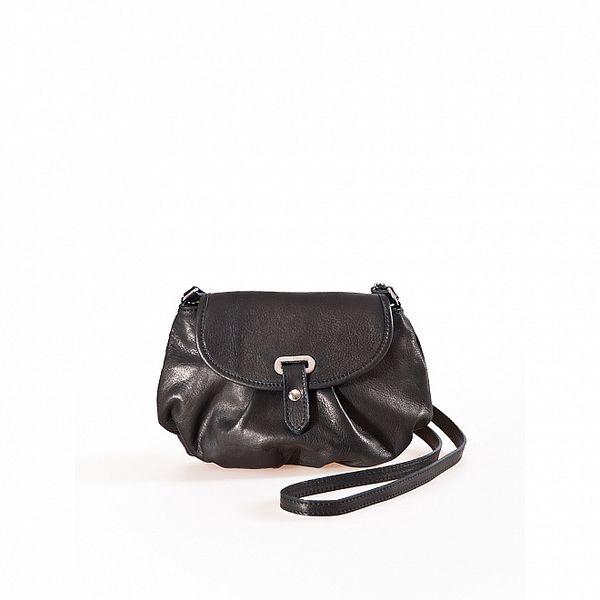 Dámska čierna kožená kabelka s tenkým popruhom Luisa Vannini