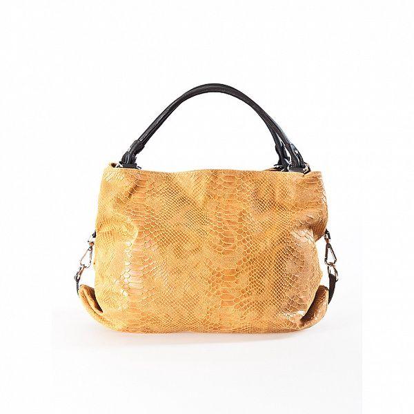 Dámská velbloudí kožená kabelka s hadím vzorem Luisa Vannini