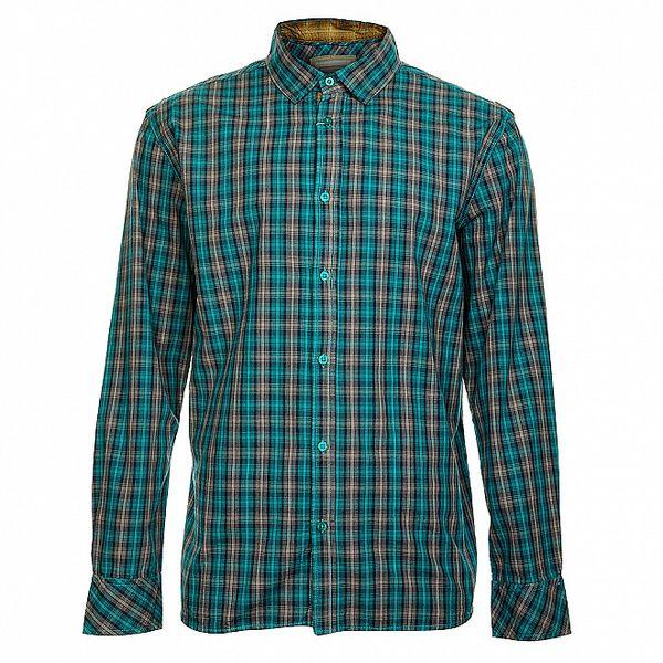 Modrá pánská kostkovaná košile s dlouhým rukávem Timeout