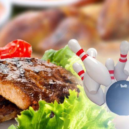 TALÍŘ PLNÝ MASA A 2 HODINY BOWLINGU za skvělých 279 Kč! Pečená kuřecí křidélka, stehýnka a vařená uzená žebra s chlebem, hořčicí, křenem a okurkou! Stylová bašta a super zábava pro Vás a Vaše přátelé s báječnou slevou 54%!