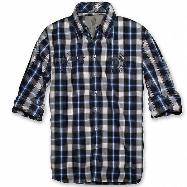 Pánská šedo-modrá kostkovaná košile s potiskem Paul Stagas