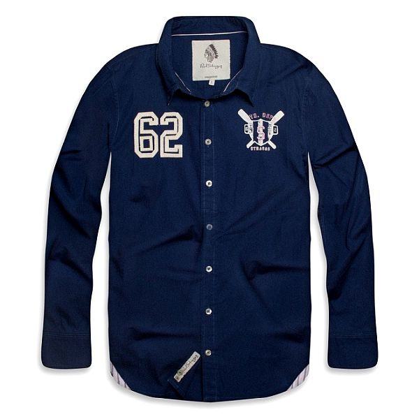 Pánská tmavě modrá košile s béžovými nášivkami Paul Stragas