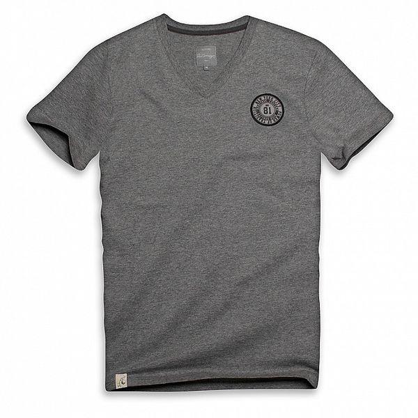 Pánske tmavo šedé tričko s gulatým logom Paul Stragas