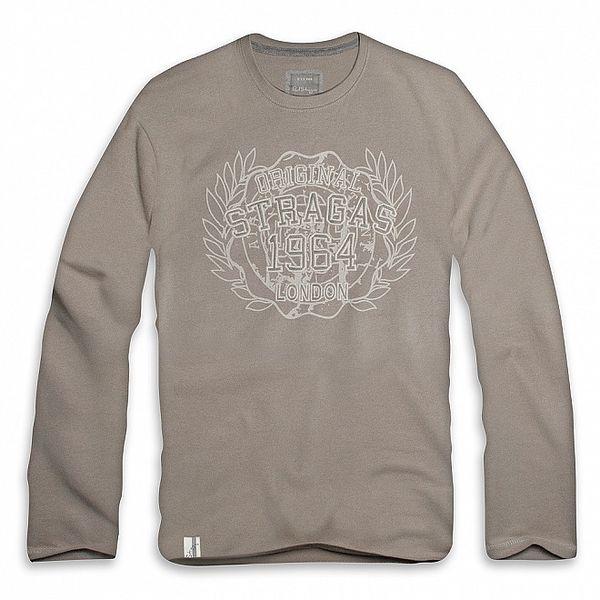 Pánské šedo-béžové triko s dlouhým rukávem a vavřínem Paul Stragas