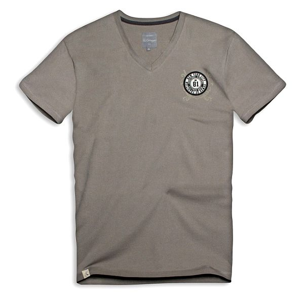 Pánské šedo-béžové triko s kulatým logem Paul Stragas