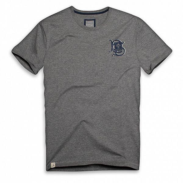 Pánske tmavo šedé bavlnené tričko s ornamentom Paul Stragass