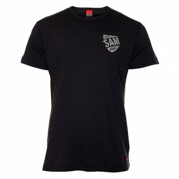 Pánske čierne tričko s šedou potlačou Sam 73
