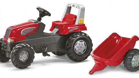 Rolly Toys Šlapací traktor Rolly Junior s vlečkou červený - II. jakost