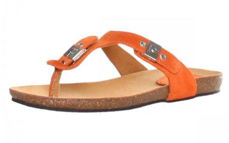 Kvalitní dámské semišové žabky Scholl Newbimini_245131555, oranžová