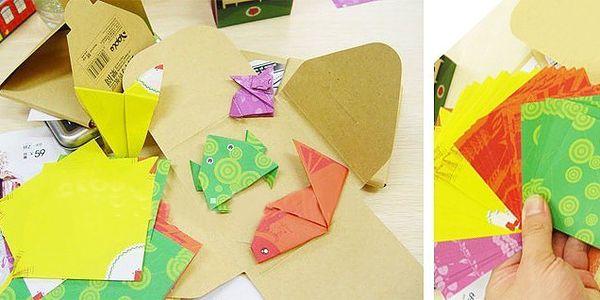 SADA ORIGAMI papierov (60 kusov) z ktorých môžete zložiť 4 rôzne zvieratká v niekoľkých jednoduchých krokoch s predtlačenými ohyby!
