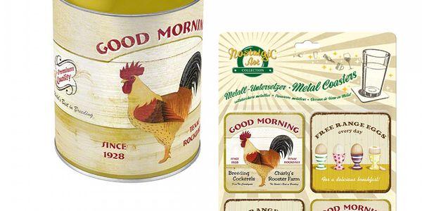 Dóza a podtácky Good Morning - kulatá dóza + 4 podtácky ve sladěných barvách