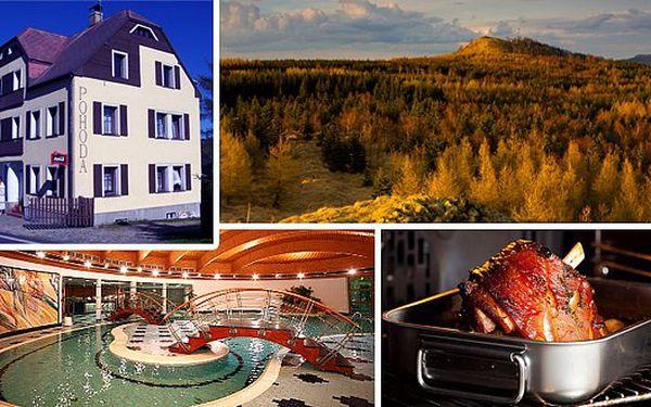 Penzion U Pohody v Krušných horách. Relaxační pobyt - 3 dny pro 2 osoby. Pečené kolínko, 2 hodiny relaxu v bazénu, sauna a pes v ceně.