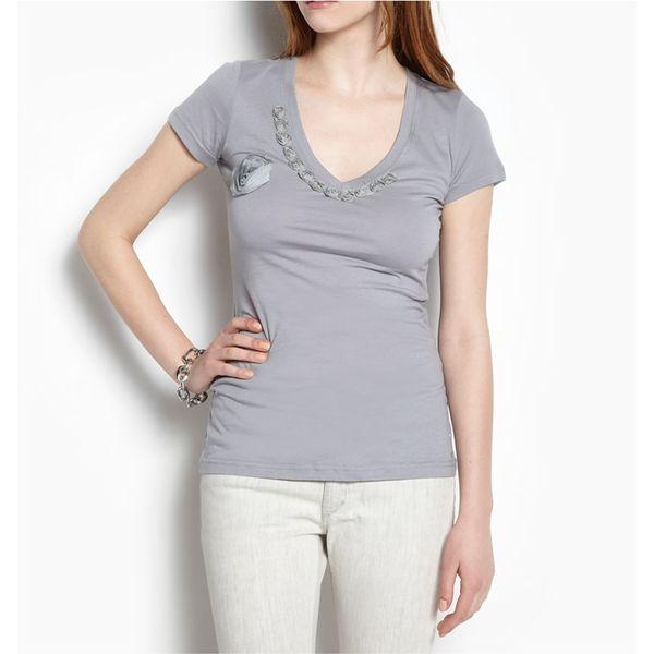 Dámské triko LWA šedé výstřih do V