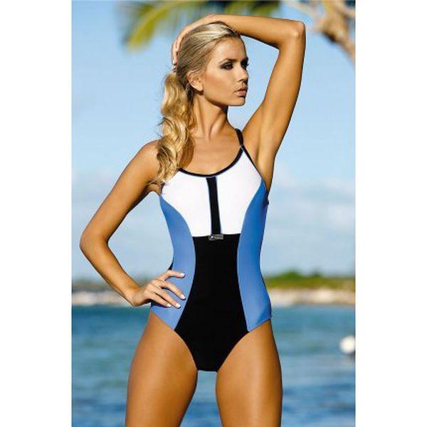 Dámské jednodílné plavky Lida v tmavě modré, světle modré a bílé barevné kombinaci.