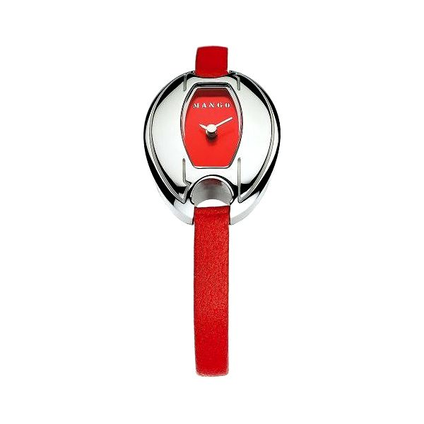 Dámske hodinky Mango s červeným koženým remienkom aj ciferníkom