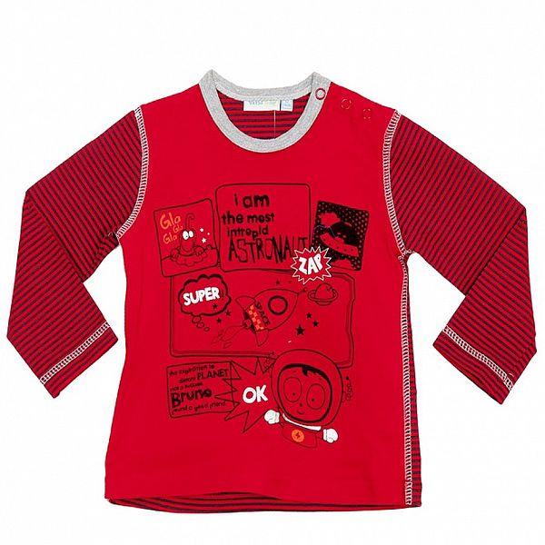 Chlapčenské červené pruhované tričko s astronautmi Yatsi