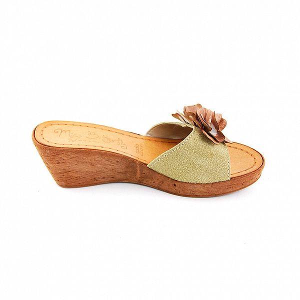 Dámske pieskovo-hnedé šľapky Miss Butterfly