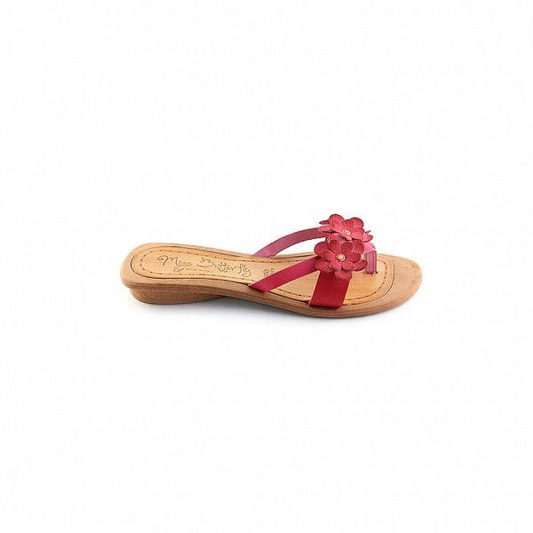 Dámské červené žabkové pantofle s květinami Miss Butterfly