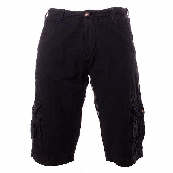 Pánské antracitové kostkované šortky Exe