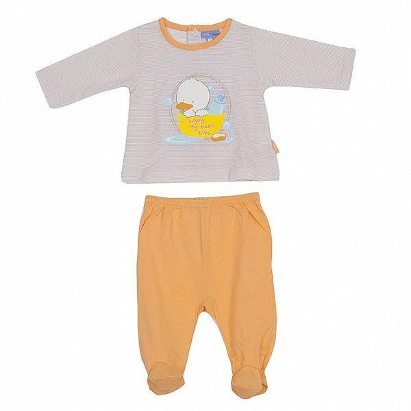 Detský oranžový pruhovaný set nohavíc a trička Yatsi