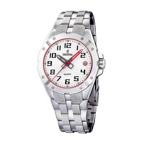 Pánské hodinky Festina stříbrné červené zdobení