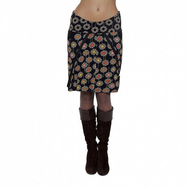 Černá sukně s květinami Peace&Love