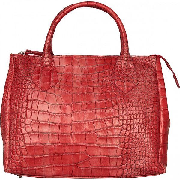 Dámská červená kabelka Made in Italia s hadím vzorem