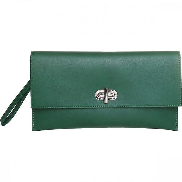 Dámské tmavě zelené kožené psaníčko Made in Italia