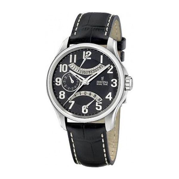 Pánské hodinky Festina černý kožený pásek