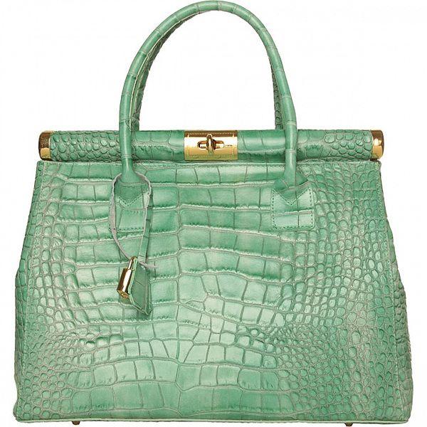 Dámská mátově zelená kožená kabelka Made in Italia s ozdobným lemem