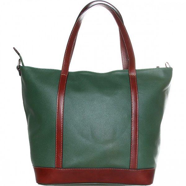 Dámská tmavě zelená kabelka Made in Italia s hnědými detaily